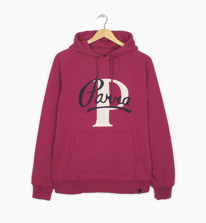 Bluza by Parra - Hooded Sweater Painterly Script - purplepink [bluza]